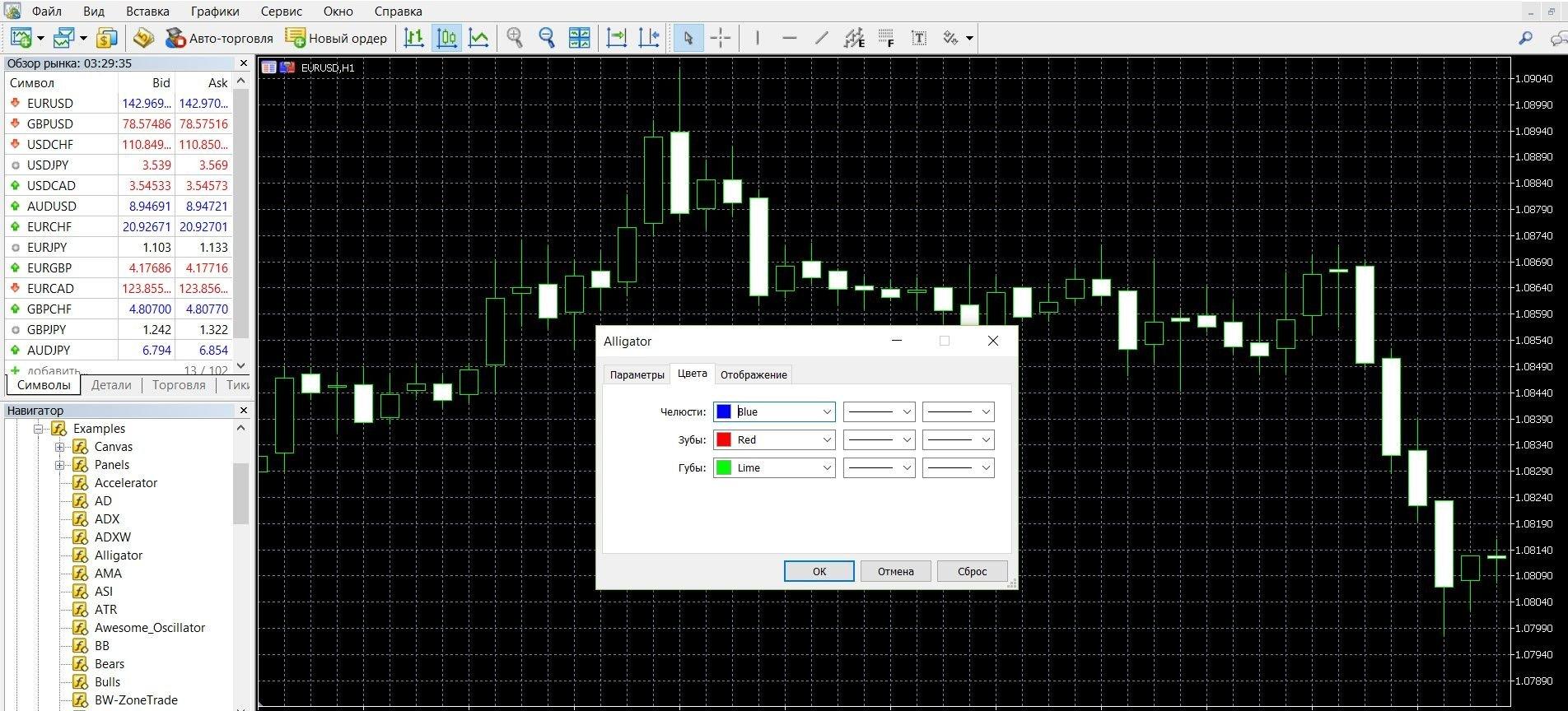 Добавляя Аллигатор на график цены можно менять его настройки