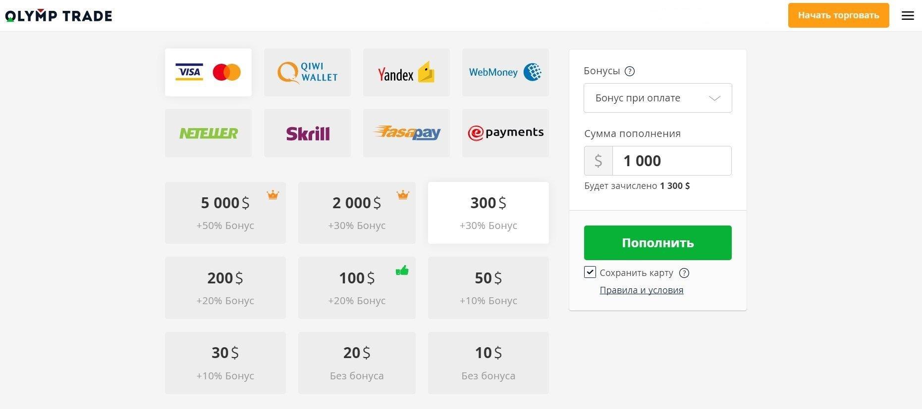 Olymp Trade: получите бонус при пополнении реального счета