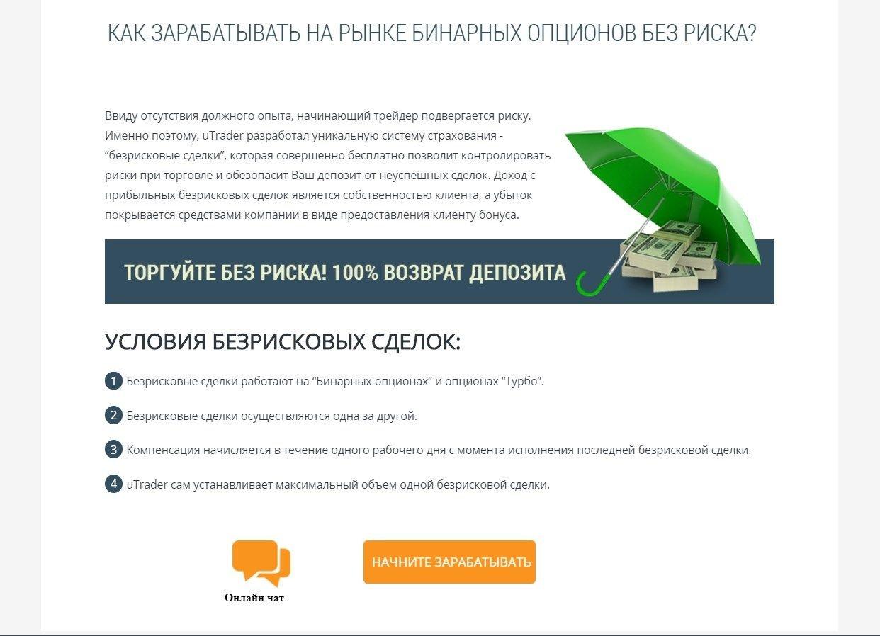 Безрисковая торговля при входе на платформу uTrader: 100% возврат средств