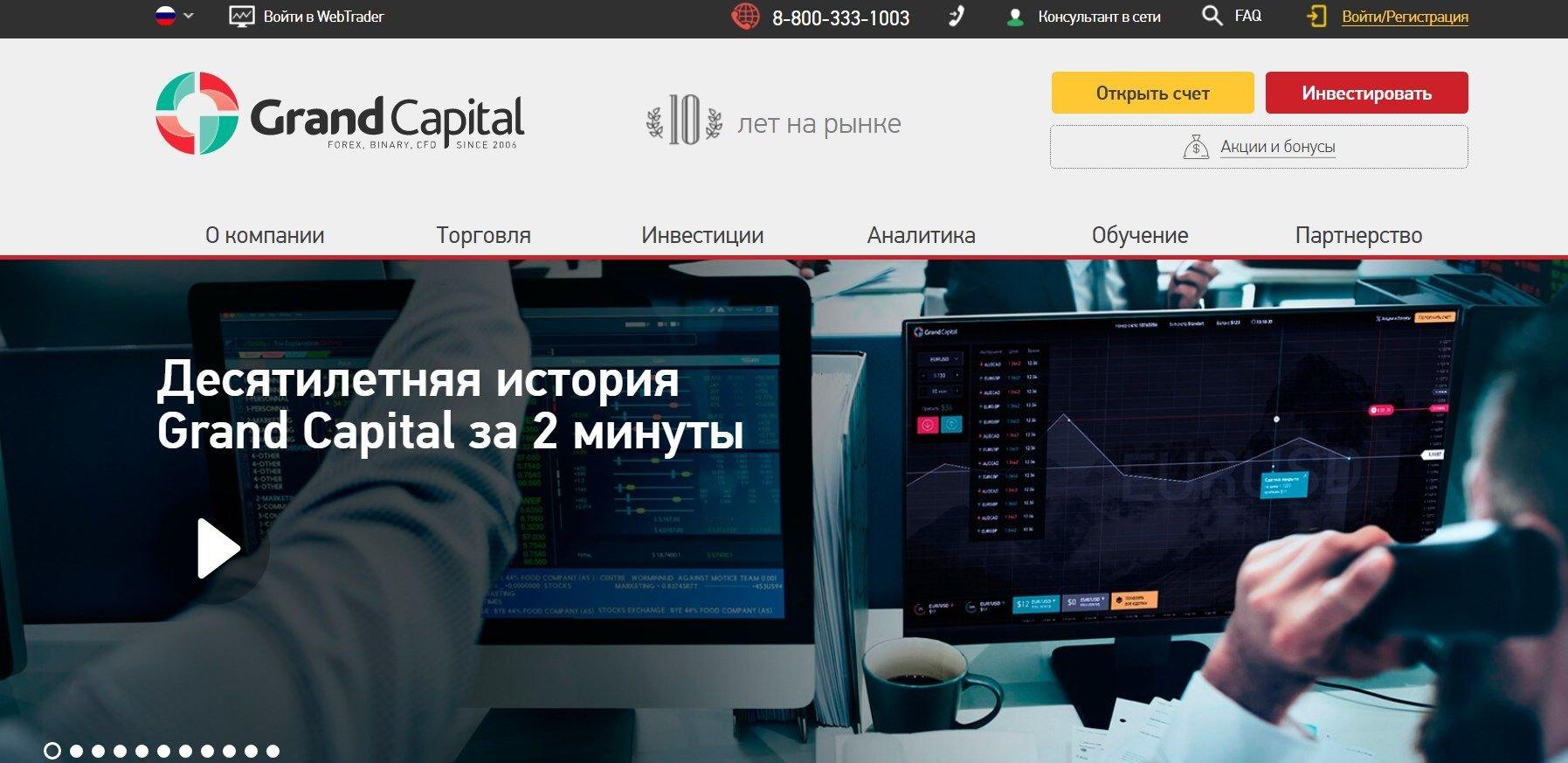 Торговля опционами проходит на официальном сайте Гранд Капитал