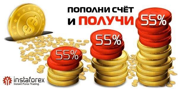 ИнстаФорекс: бонус брокера 55% за каждое пополнение счета