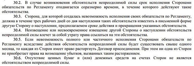finam.ru форс-мажорные ситуации