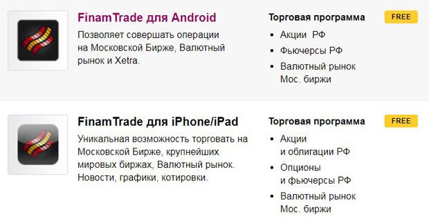 finam.ru мобильные терминалы