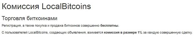 LocalBitcoins комиссия