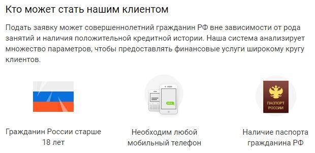 еКапуста требования к заемщику